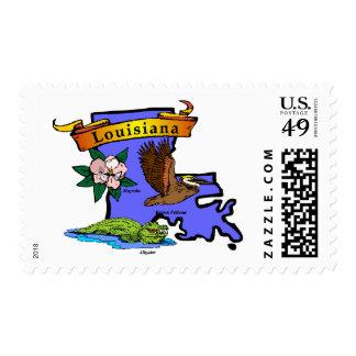 Mapa de Luisiana Sellos Postales