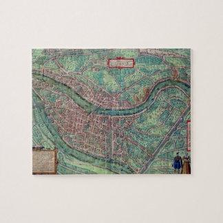 "Mapa de Lyon, de ""Civitates Orbis Terrarum"" por GE Puzzle"