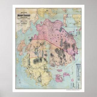 Mapa de Maine de la isla desierta del soporte - 18 Póster