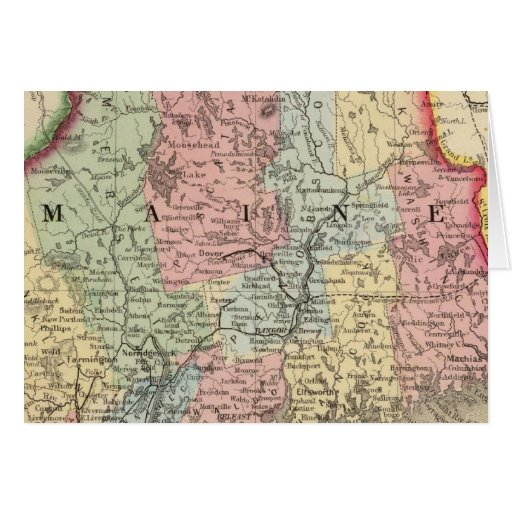 Mapa de Maine de Mitchell Tarjeta De Felicitación