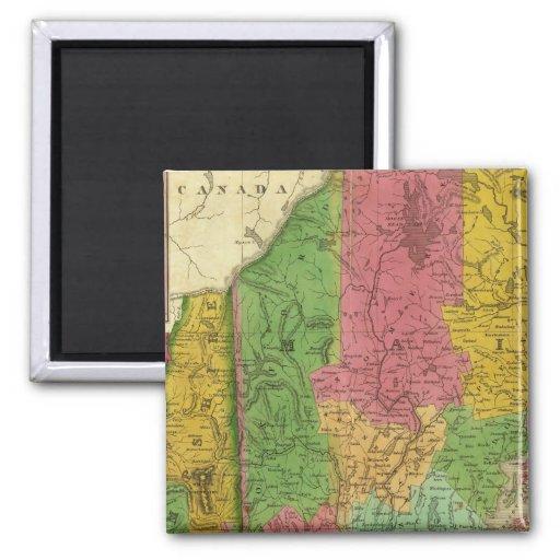 Mapa de Maine, de New Hampshire, y de Vermont Imán