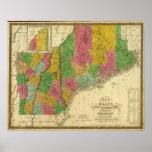 Mapa de Maine, de New Hampshire, y de Vermont Póster