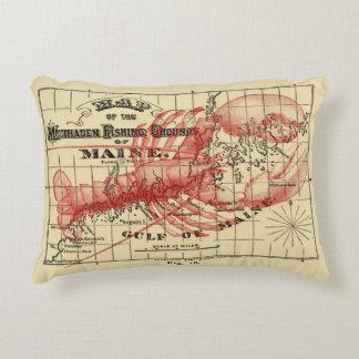 Mapa de Maine del vintage con la almohada roja de Cojín
