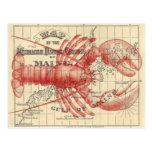 Mapa de Maine del vintage con la postal de la lang