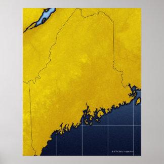 Mapa de Maine Póster