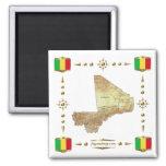 Mapa de Malí + Imán de las banderas