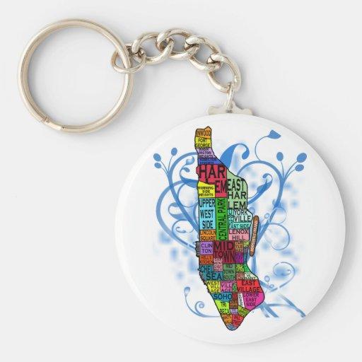 Mapa de Manhattan del codificado por color Llavero Personalizado