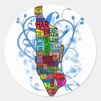 Mapa de Manhattan del codificado por color Pegatina Redonda