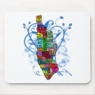 Mapa de Manhattan del codificado por color Tapetes De Ratón