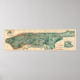 Mapa de Manhattan Póster