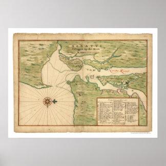 Mapa de Manhattan y de la región 1639 de New York  Poster