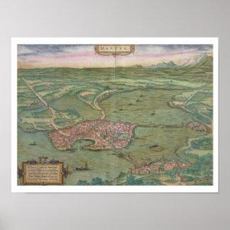 Mapa de Mantua de Civitates Orbis Terrarum cerc Poster