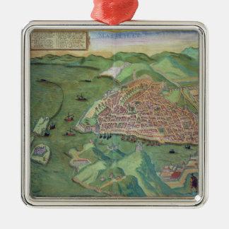 Mapa de Marsella, de 'Civitates Orbis Terrarum Adorno Cuadrado Plateado