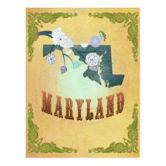 Mapa de Maryland con los pájaros preciosos Postal