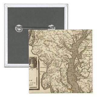 Mapa de Maryland por Arrowsmith Pin Cuadrada 5 Cm