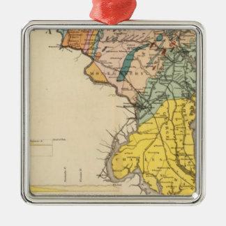 Mapa de Maryland y del distrito de Columbia Adorno Navideño Cuadrado De Metal