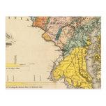 Mapa de Maryland y del distrito de Columbia Postales