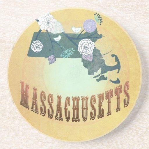 Mapa de Massachusetts con los pájaros preciosos Posavasos Manualidades