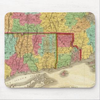 Mapa de Massachusetts Connecticut y de Rhode Islan Tapetes De Ratones