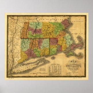 Mapa de Massachusetts Connecticut y de Rhode Impresiones