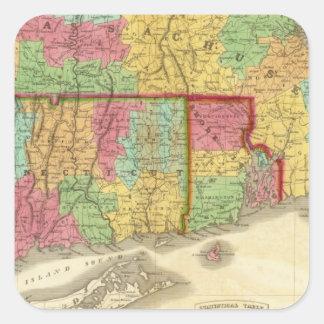 Mapa de Massachusetts Connecticut y de Rhode Pegatina Cuadrada