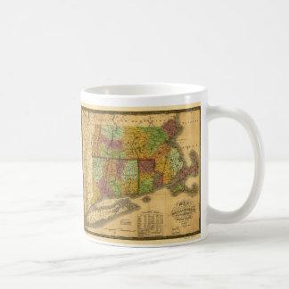 Mapa de Massachusetts Connecticut y de Rhode Tazas De Café