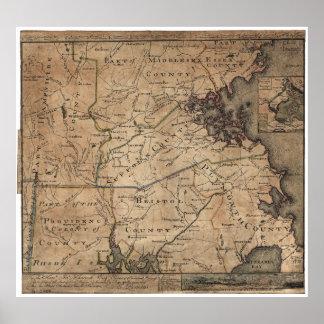 Mapa de Massachusetts de los romanos de Bernard Póster