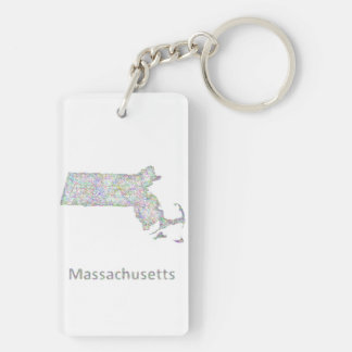 Mapa de Massachusetts Llavero Rectangular Acrílico A Doble Cara