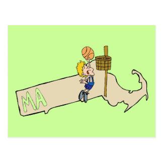 Mapa de Massachusetts mA y arte del dibujo animado Postal