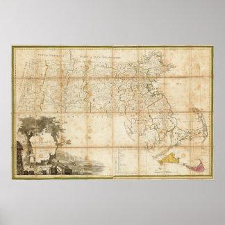Mapa de Massachusetts Póster
