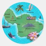 Mapa de Maui Etiqueta Redonda