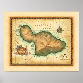Mapa de Maui Poster