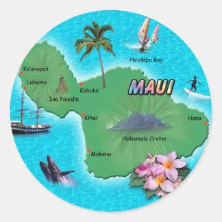Mapa de Maui Pegatina Redonda