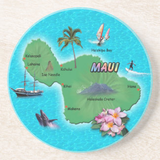 Mapa de Maui Posavasos Personalizados