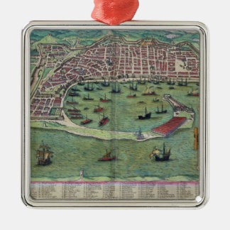 "Mapa de Messina, de ""Civitates Orbis Terrarum"" Adorno Cuadrado Plateado"
