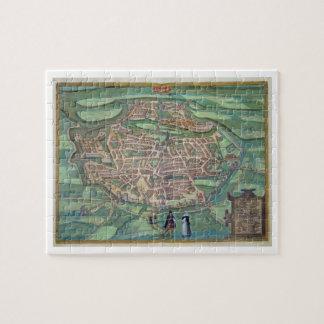 "Mapa de Metz, de ""Civitates Orbis Terrarum"" por GE Puzzle"