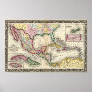 Mapa de México, America Central Póster