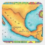 Mapa de México Calcomanías Cuadradas