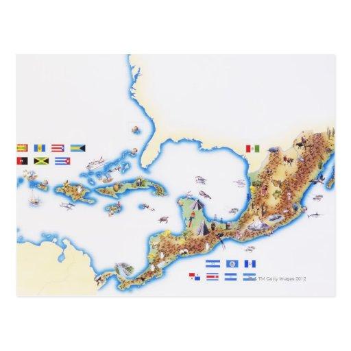 Mapa de México, de America Central y del Caribe Tarjeta Postal