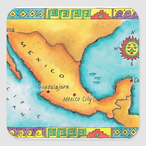 Mapa de México Pegatinas Cuadradases Personalizadas