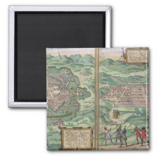 Mapa de México y de Cuzco, de 'Civitates Orbis Ter Imán Cuadrado