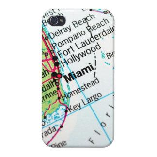 Mapa de Miami iPhone 4 Fundas