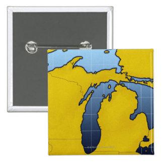 Mapa de Michigan 2 Pin Cuadrado