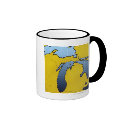 Mapa de Michigan 2 Tazas De Café