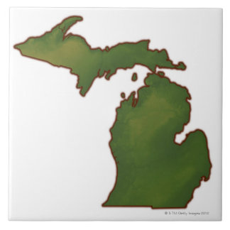 Mapa de Michigan 4 Azulejo Cuadrado Grande