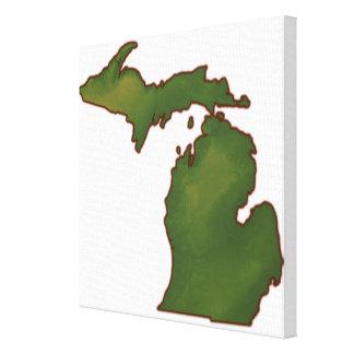 Mapa de Michigan 4 Impresión En Lona Estirada