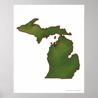 Mapa de Michigan 4 Poster