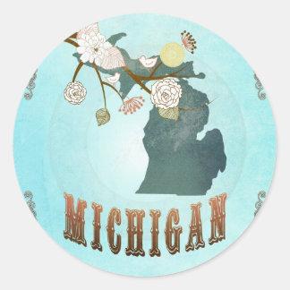 Mapa de Michigan con los pájaros preciosos Pegatina Redonda
