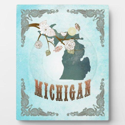 Mapa de Michigan con los pájaros preciosos Placas Con Foto