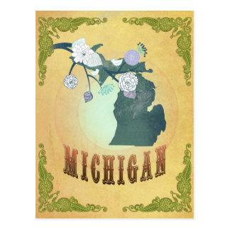 Mapa de Michigan con los pájaros preciosos Postal